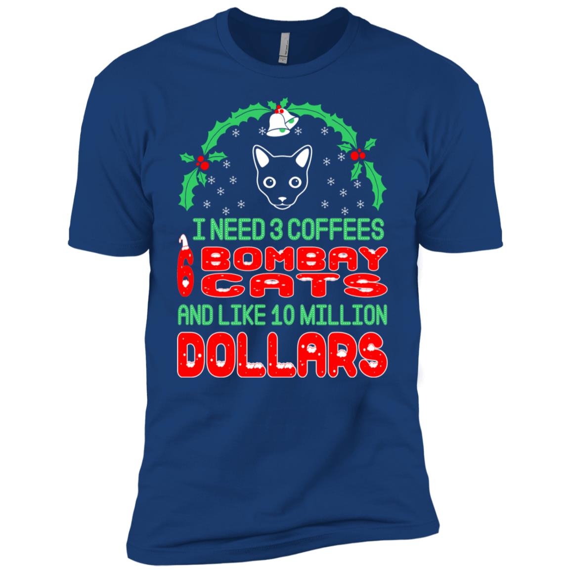 Need 3 Coffees 6 Bombay Cats Christmas Ugly Sweater Men Short Sleeve T-Shirt