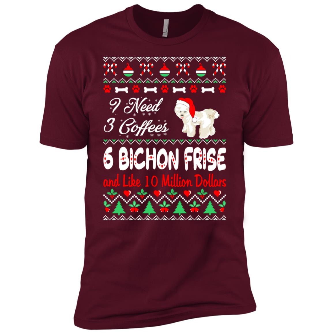 Need 3 Coffees 6 Bichon Frise Christmas Ugly Sweater-1 Men Short Sleeve T-Shirt