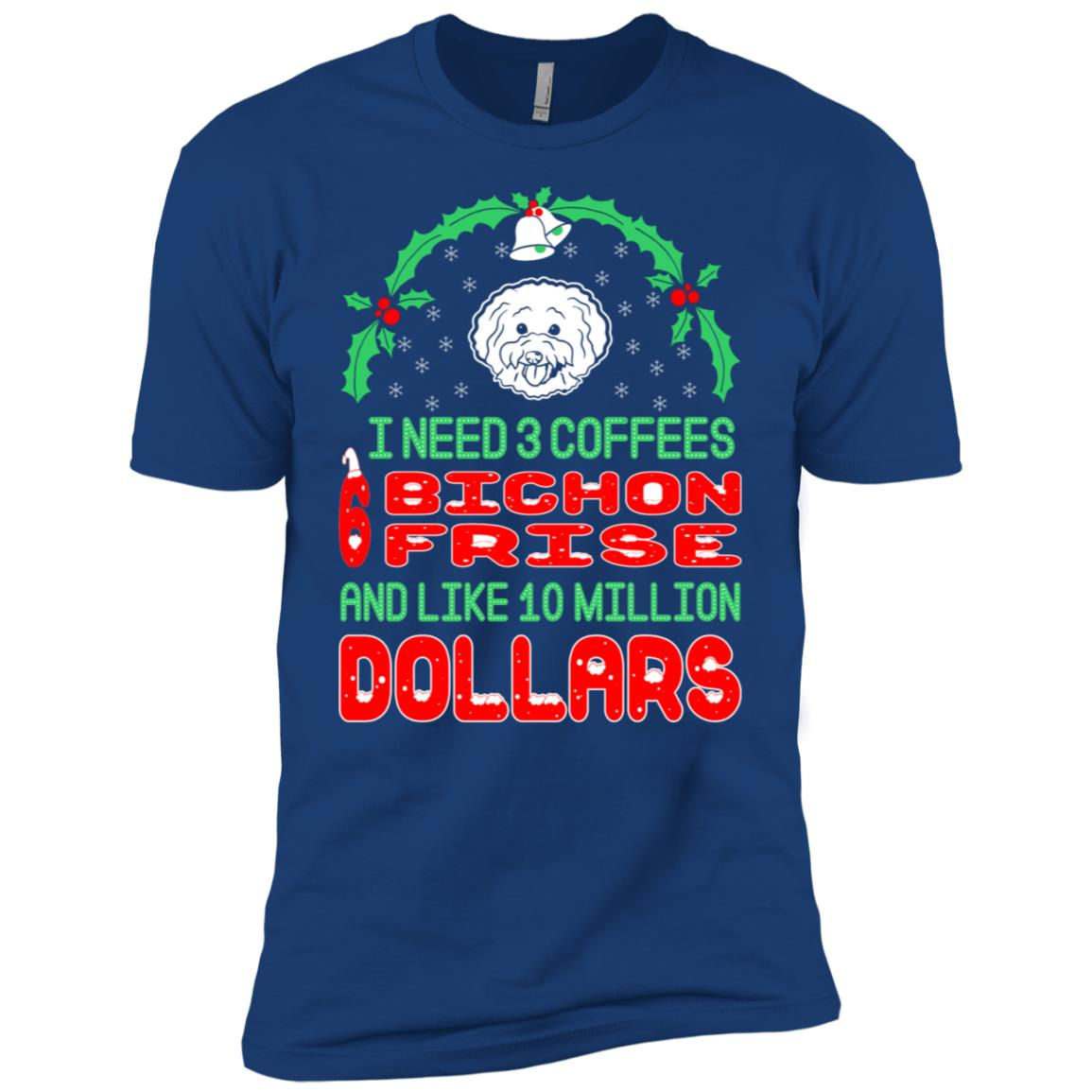 Need 3 Coffees 6 Bichon Frise Christmas Ugly Sweater Men Short Sleeve T-Shirt