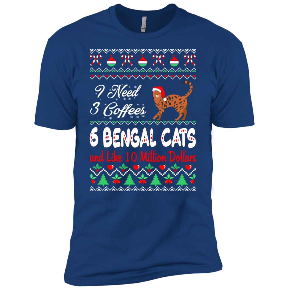 Need 3 Coffees 6 Bengal Cats Christmas Ugly Sweater Men Short Sleeve T-Shirt