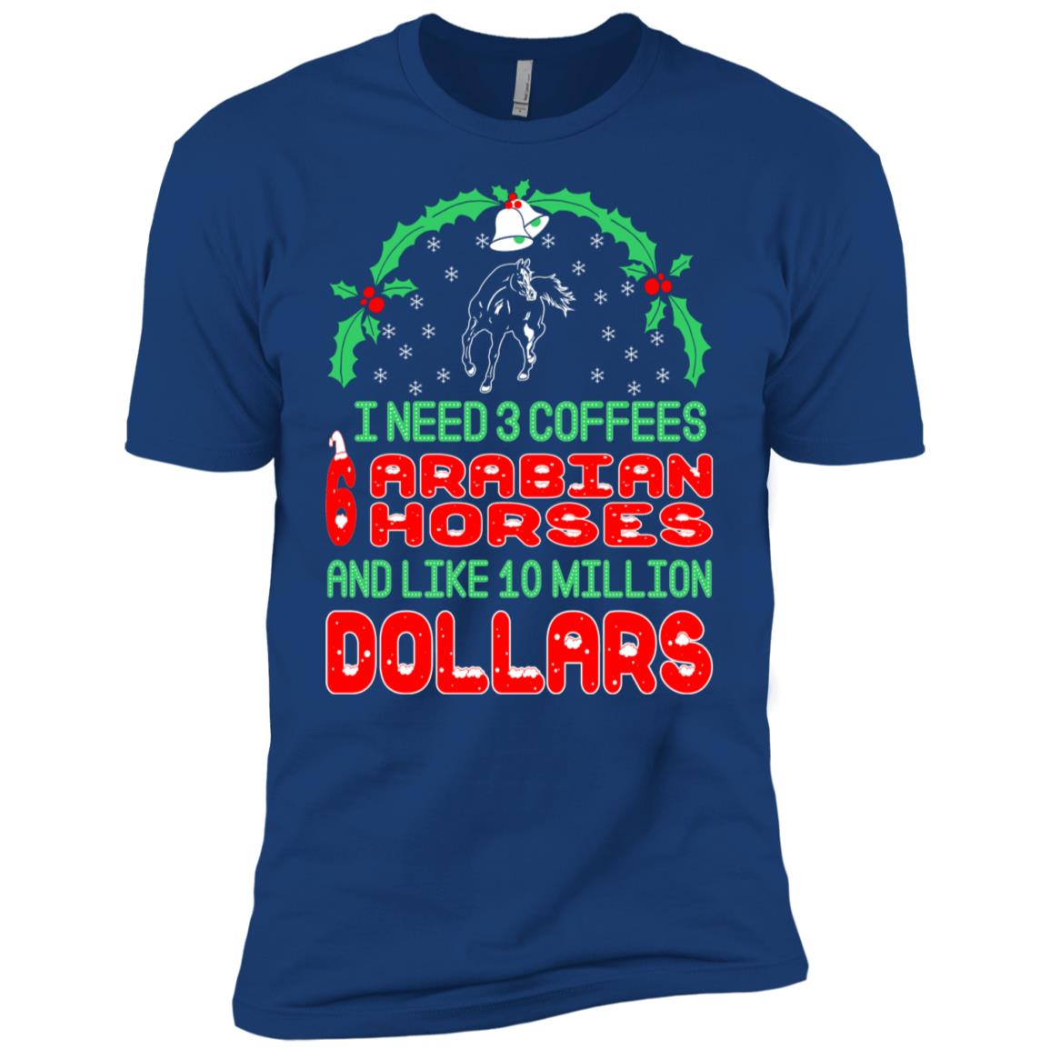Need 3 Coffees 6 Arabian Horses Christmas Ugly Sweater Tees Men Short Sleeve T-Shirt