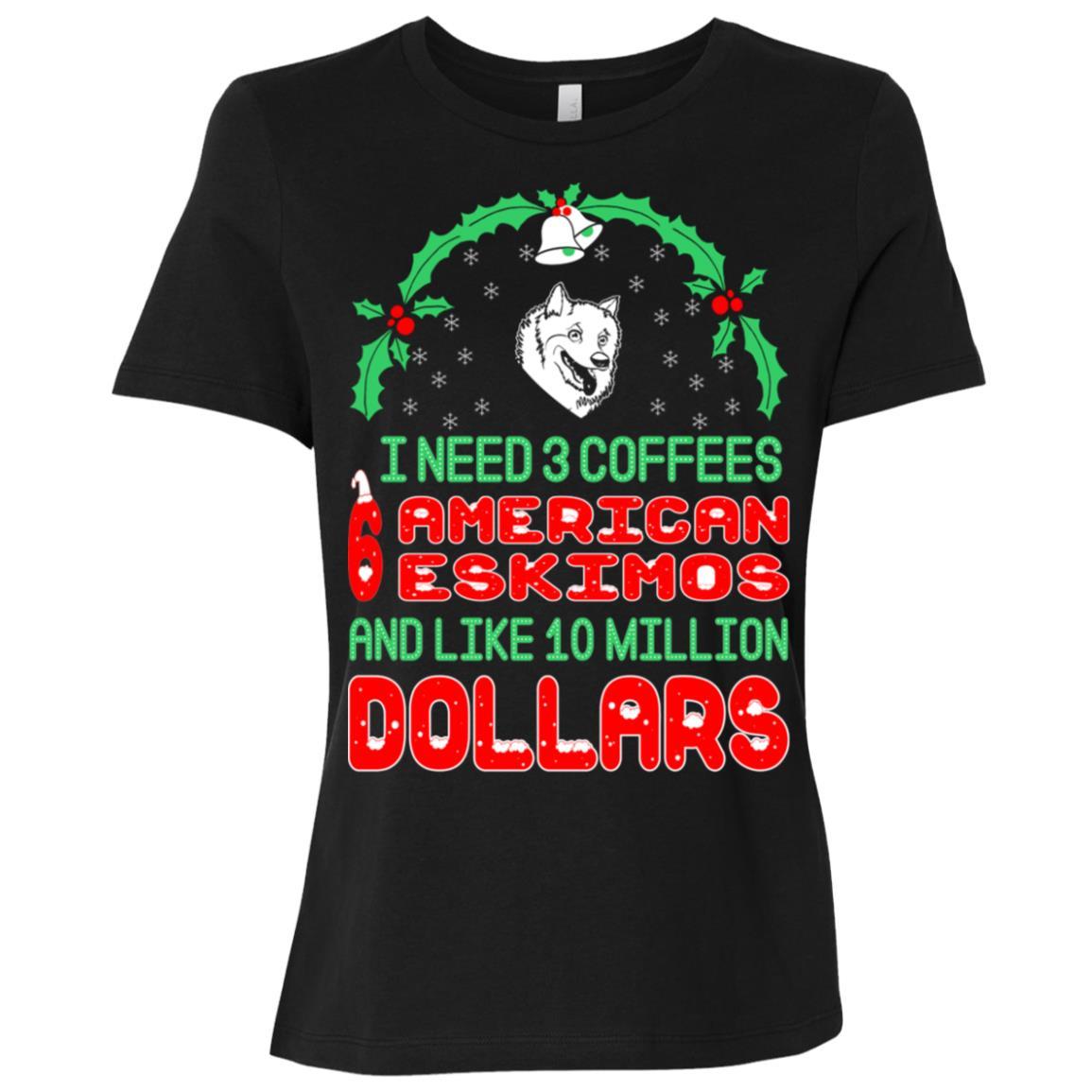 Need 3 Coffees 6 American Eskimos Christmas Ugly Sweater-1 Women Short Sleeve T-Shirt