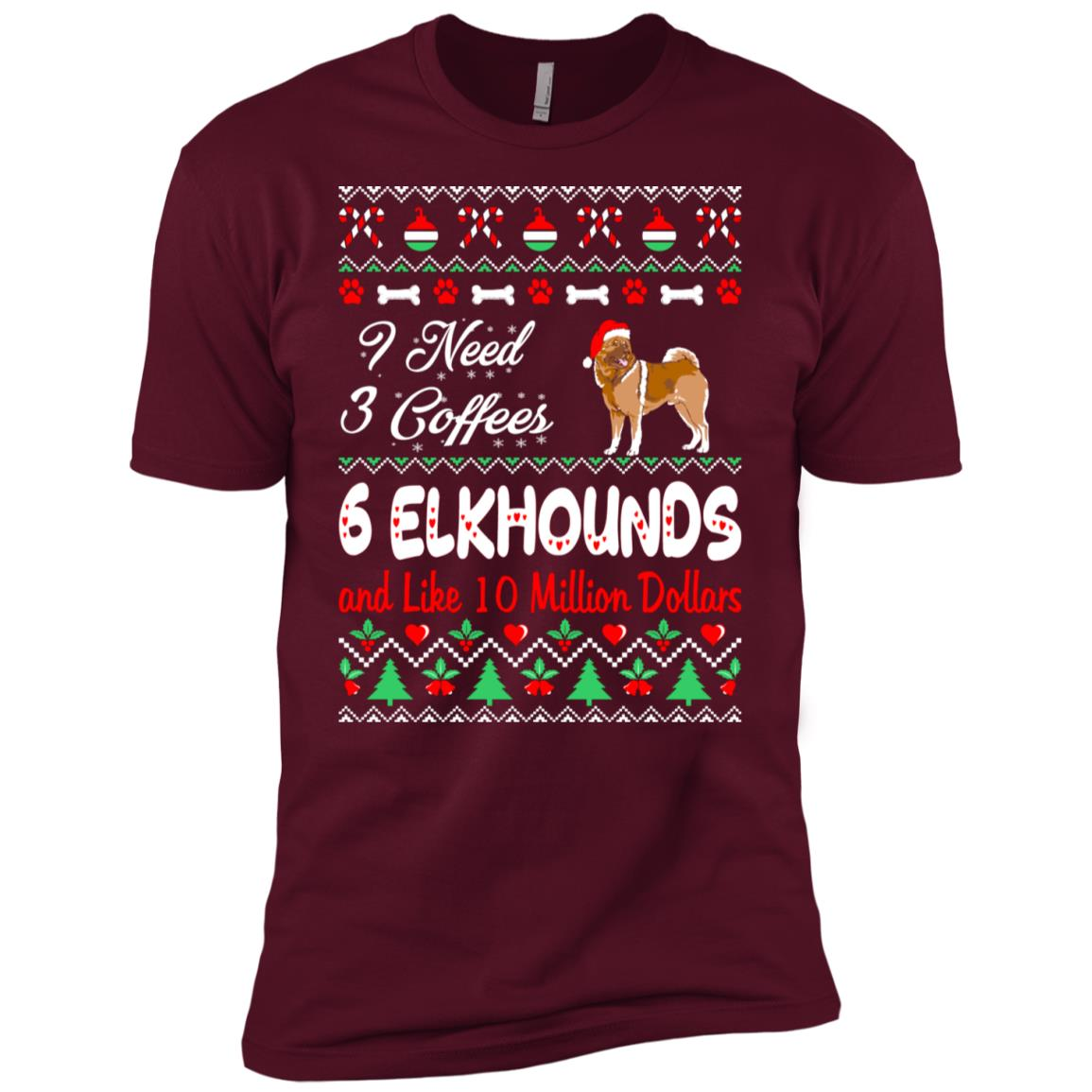 Need 3 Coffees 6 Elkhounds Christmas Ugly Sweater-1 Men Short Sleeve T-Shirt