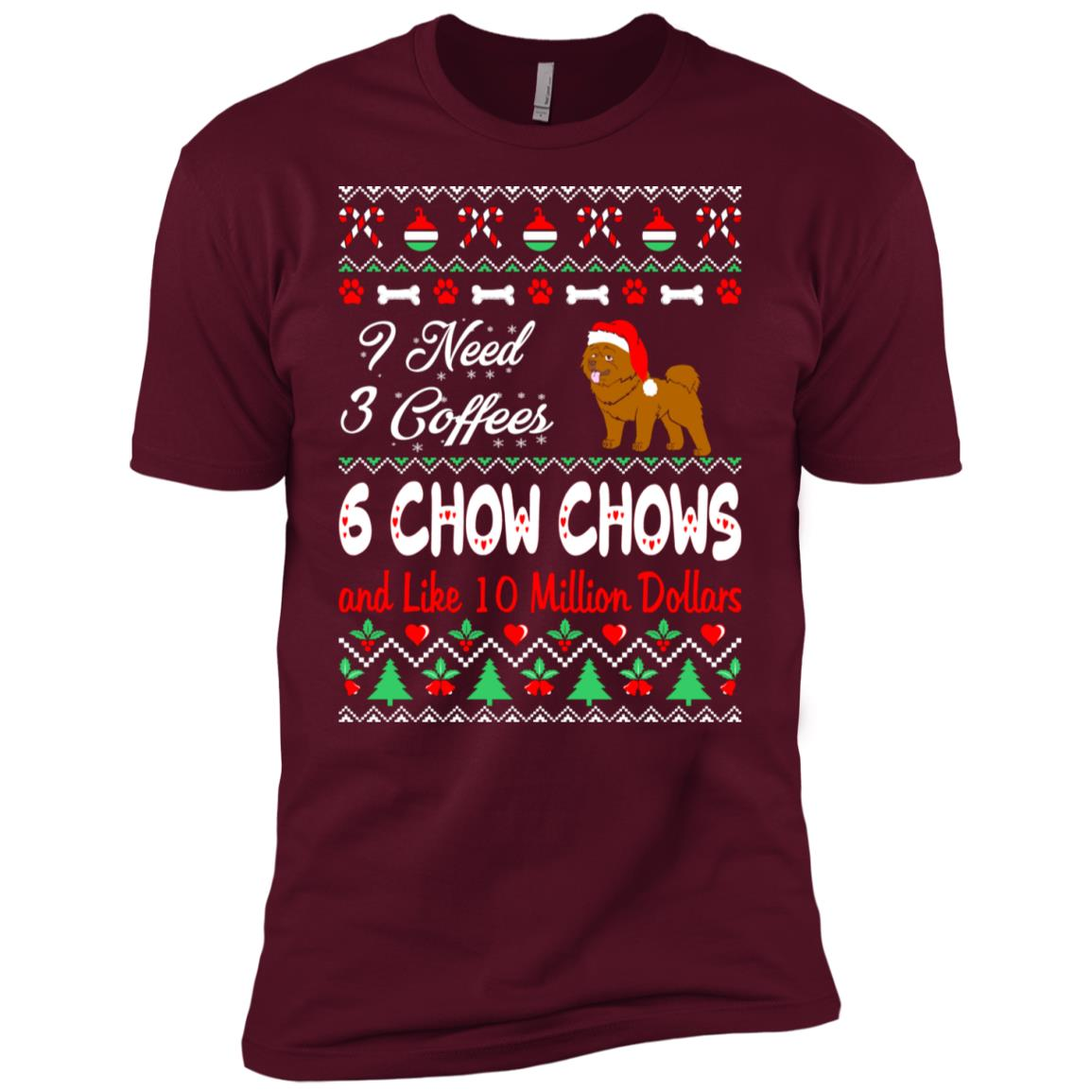 Need 3 Coffees 6 Chow Chows Christmas Ugly Sweater Men Short Sleeve T-Shirt