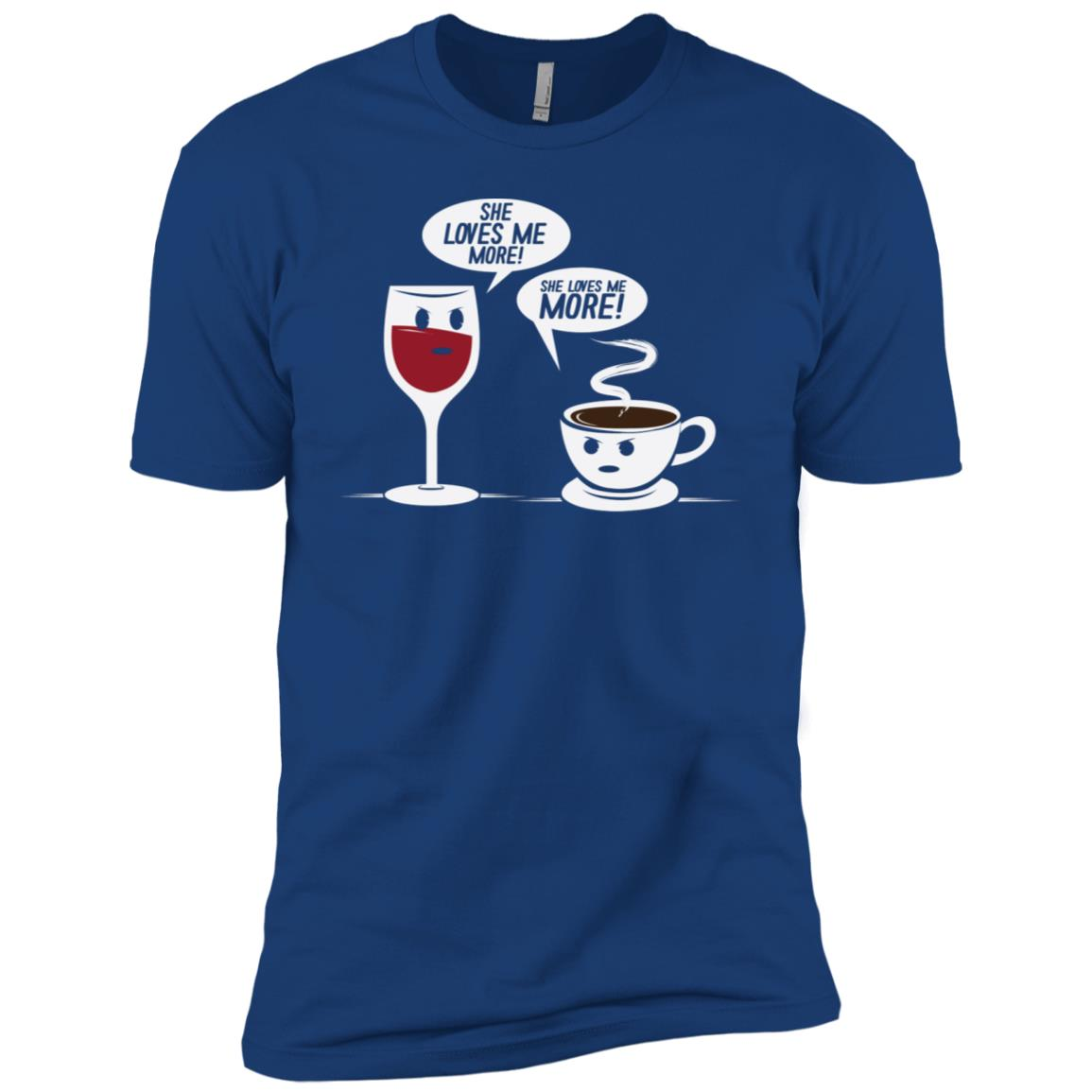 Funny She Loves Me More Coffee Wine Drinking Men Short Sleeve T-Shirt