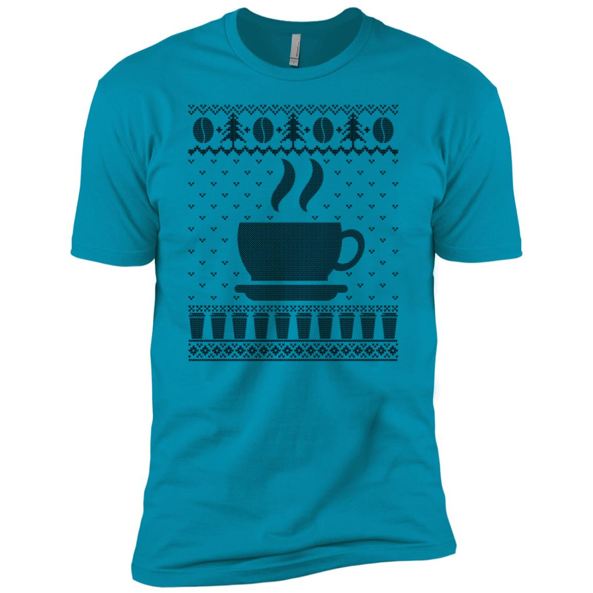 Coffee Themed Ugly Christmas Sweater Men Short Sleeve T-Shirt