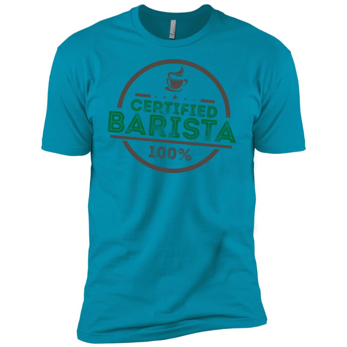 Certified Barista 100% Funny Coffee Lover Gift Men Short Sleeve T-Shirt