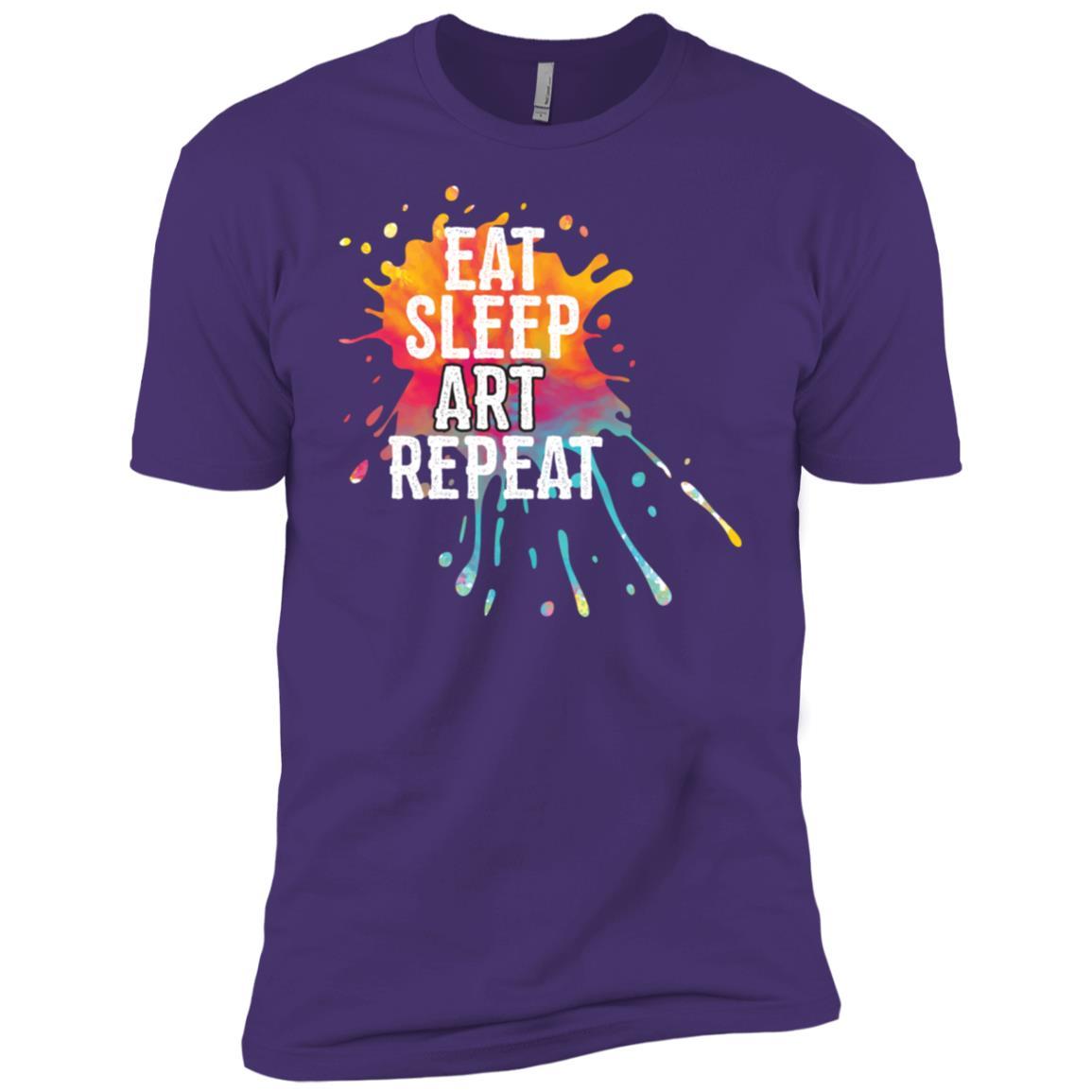 Artistic & Colorful Eat Sleep Art Repeat Men Short Sleeve T-Shirt