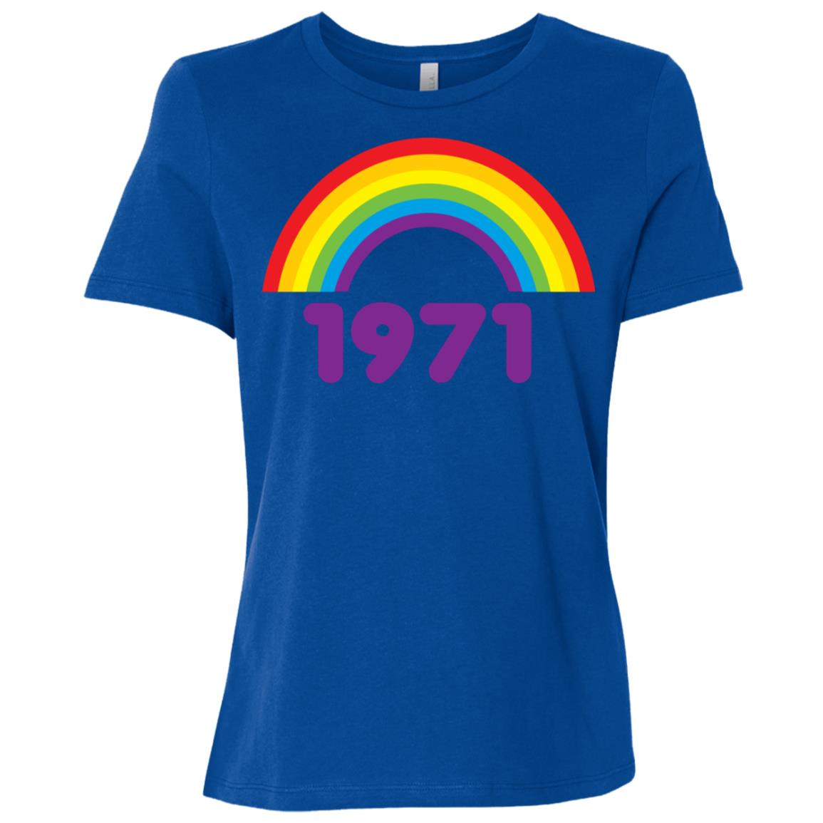 70s s for Women Vintage 1971 Rainbow Women Short Sleeve T-Shirt
