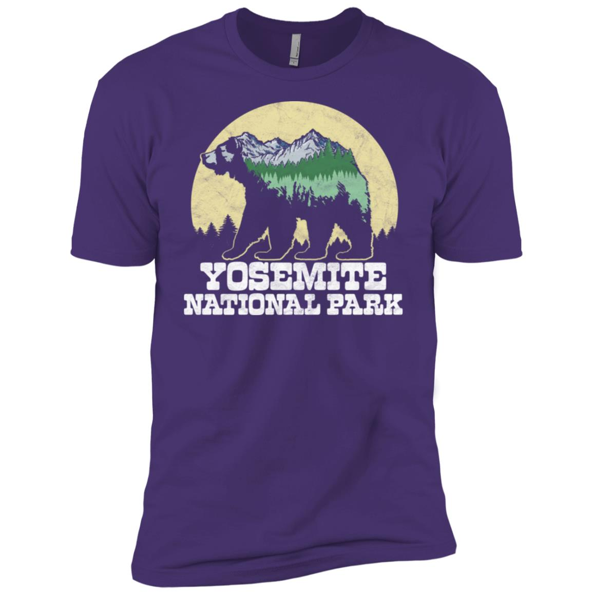 Yosemite National Park Mountains Bear Sketch Tee Men Short Sleeve T-Shirt