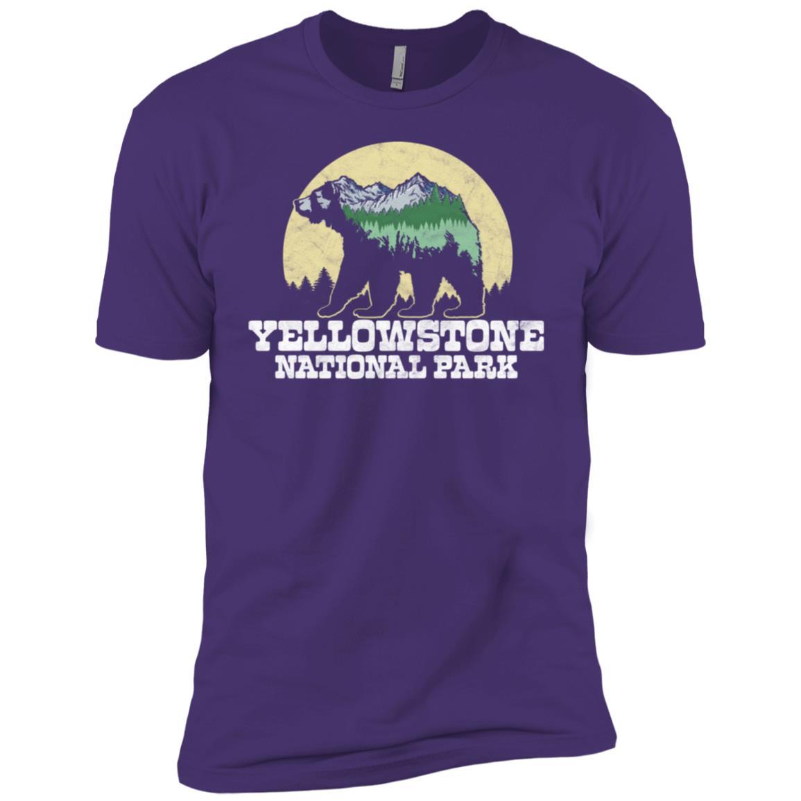 Yellowstone Bear Sketch Mountains & Trees Tee Men Short Sleeve T-Shirt