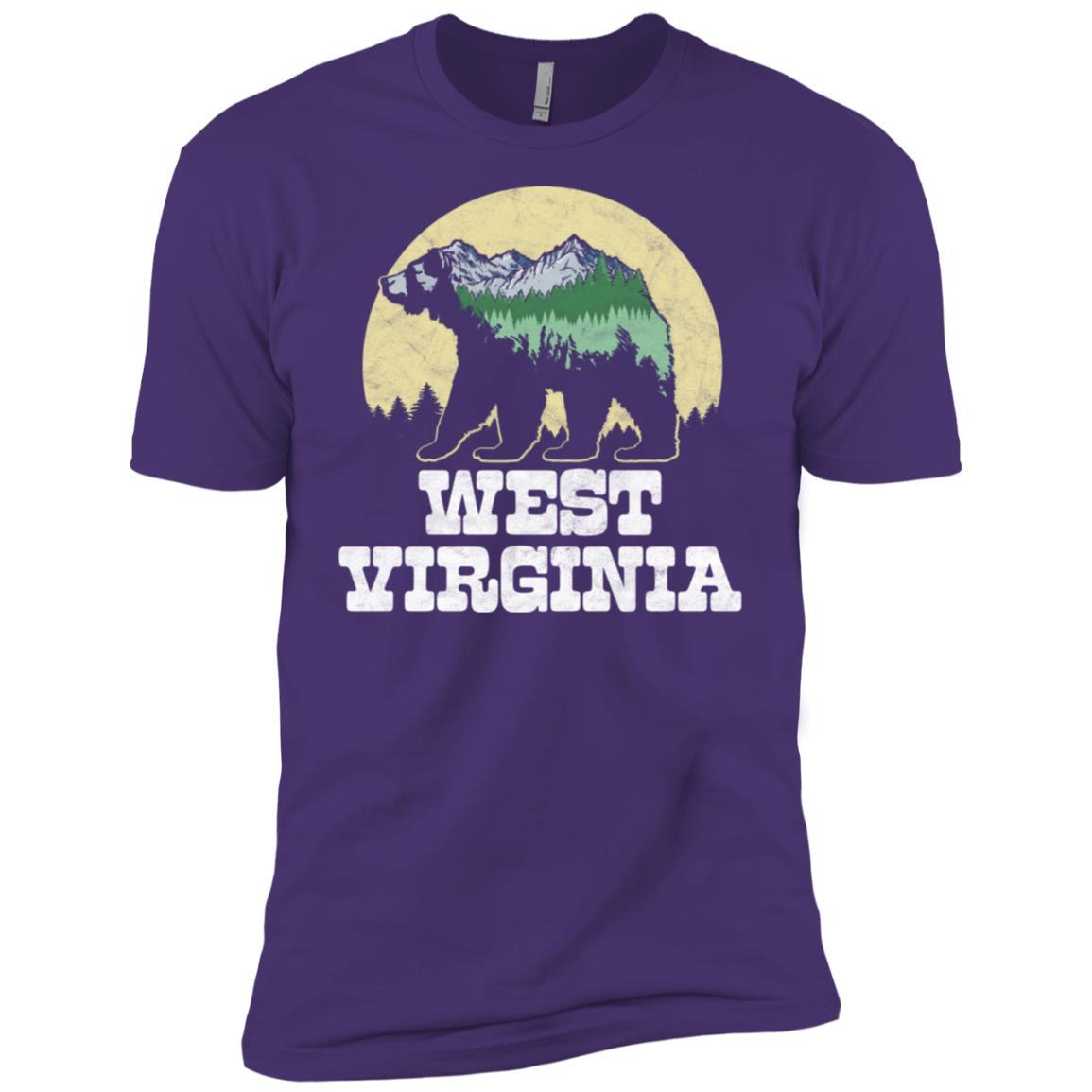 West Virginia Bear Sketch Mountains & Trees Tee Men Short Sleeve T-Shirt