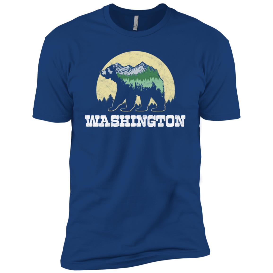 Washington Bear Sketch Mountains & Trees Tee Men Short Sleeve T-Shirt