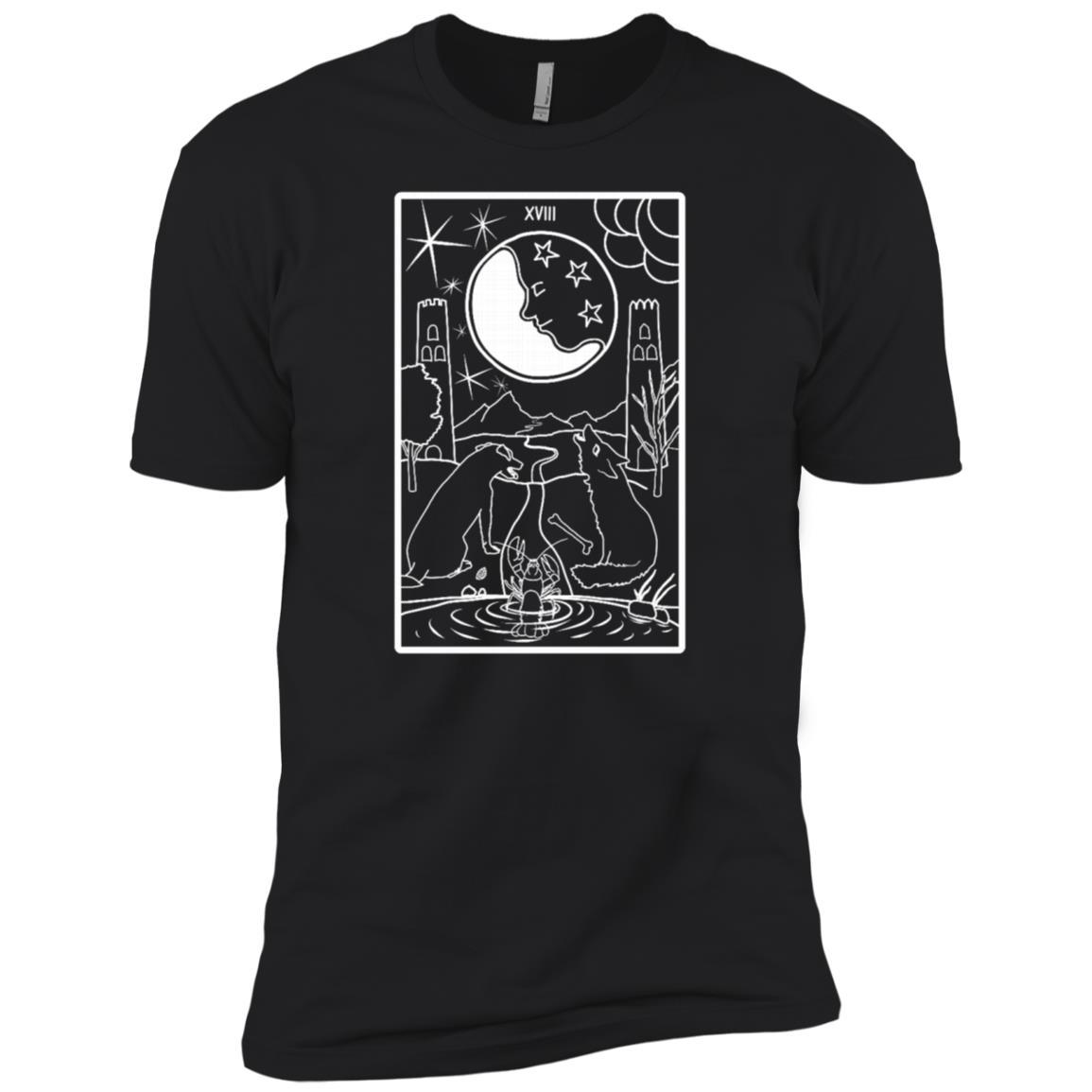 Tarot The Moon Xviii Card Line Art Men Short Sleeve T-Shirt
