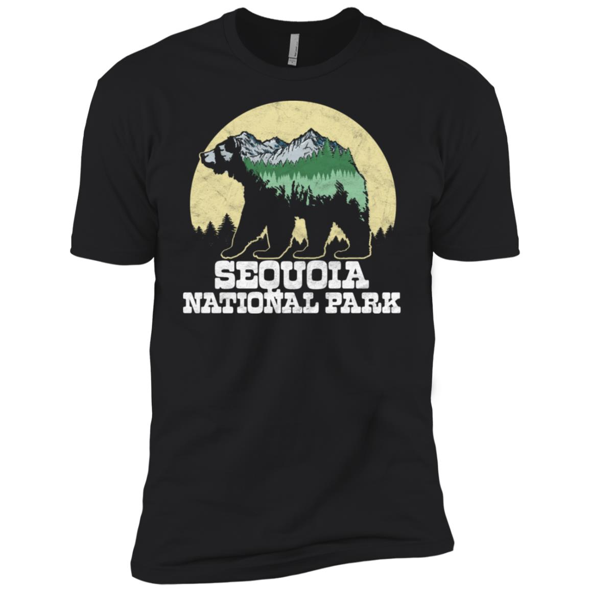 Sequoia National Park Bear Sketch Mountains Tee Men Short Sleeve T-Shirt