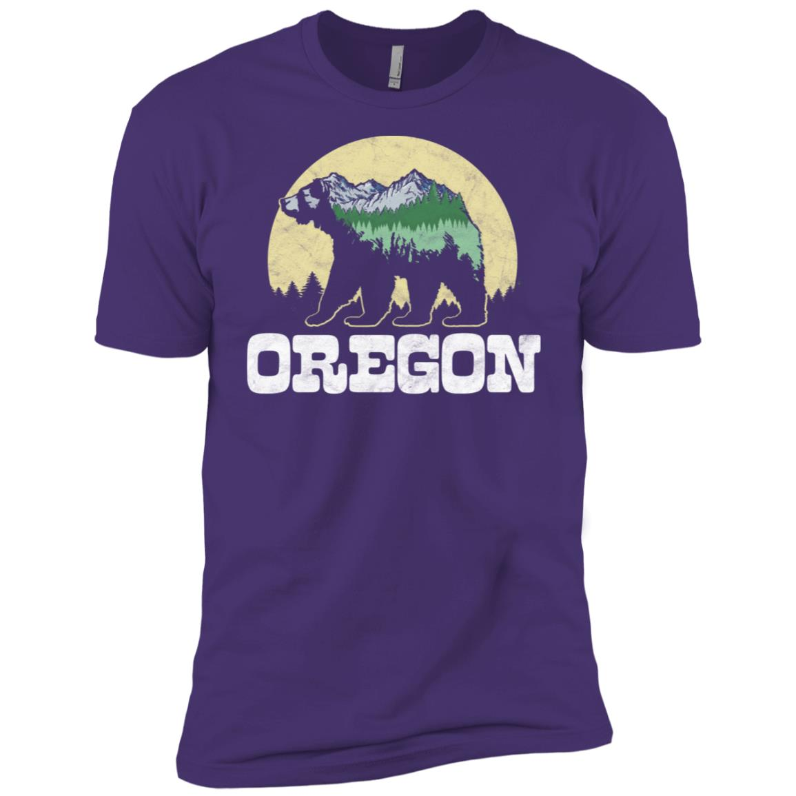 Oregon Bear Sketch Mountains & Trees Men Short Sleeve T-Shirt
