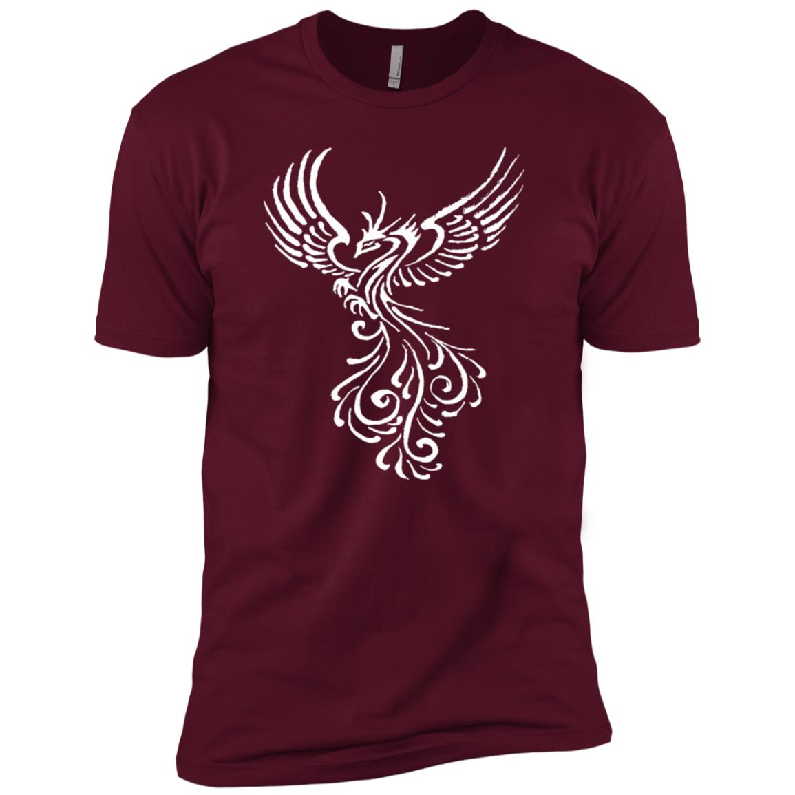 Phoenix Bird White Tribal Tattoo Design Men Short Sleeve T-Shirt