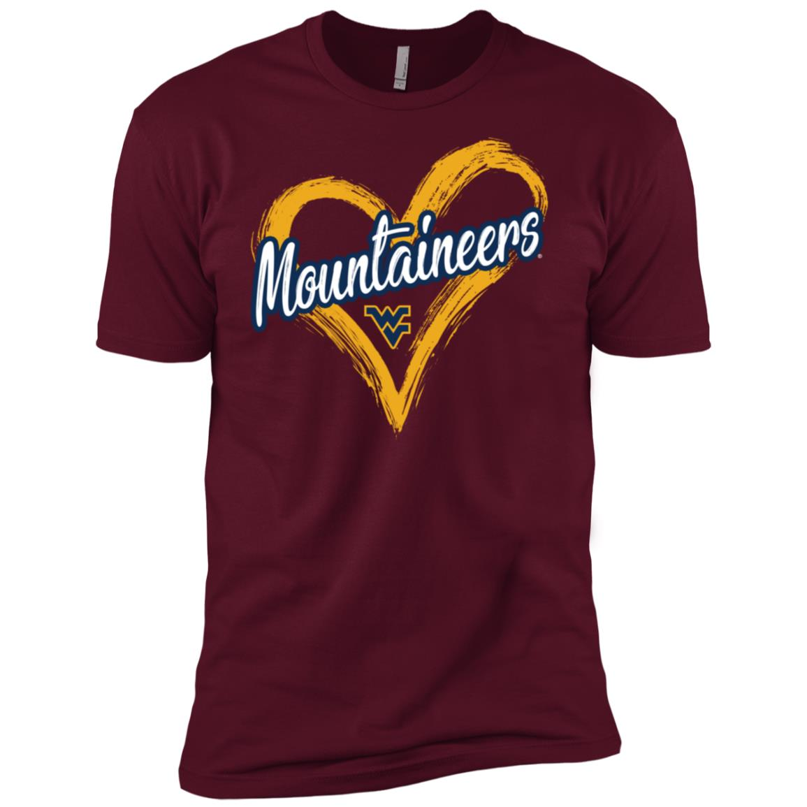 West Virginia Mountaineers Drawing Heart Men Short Sleeve T-Shirt