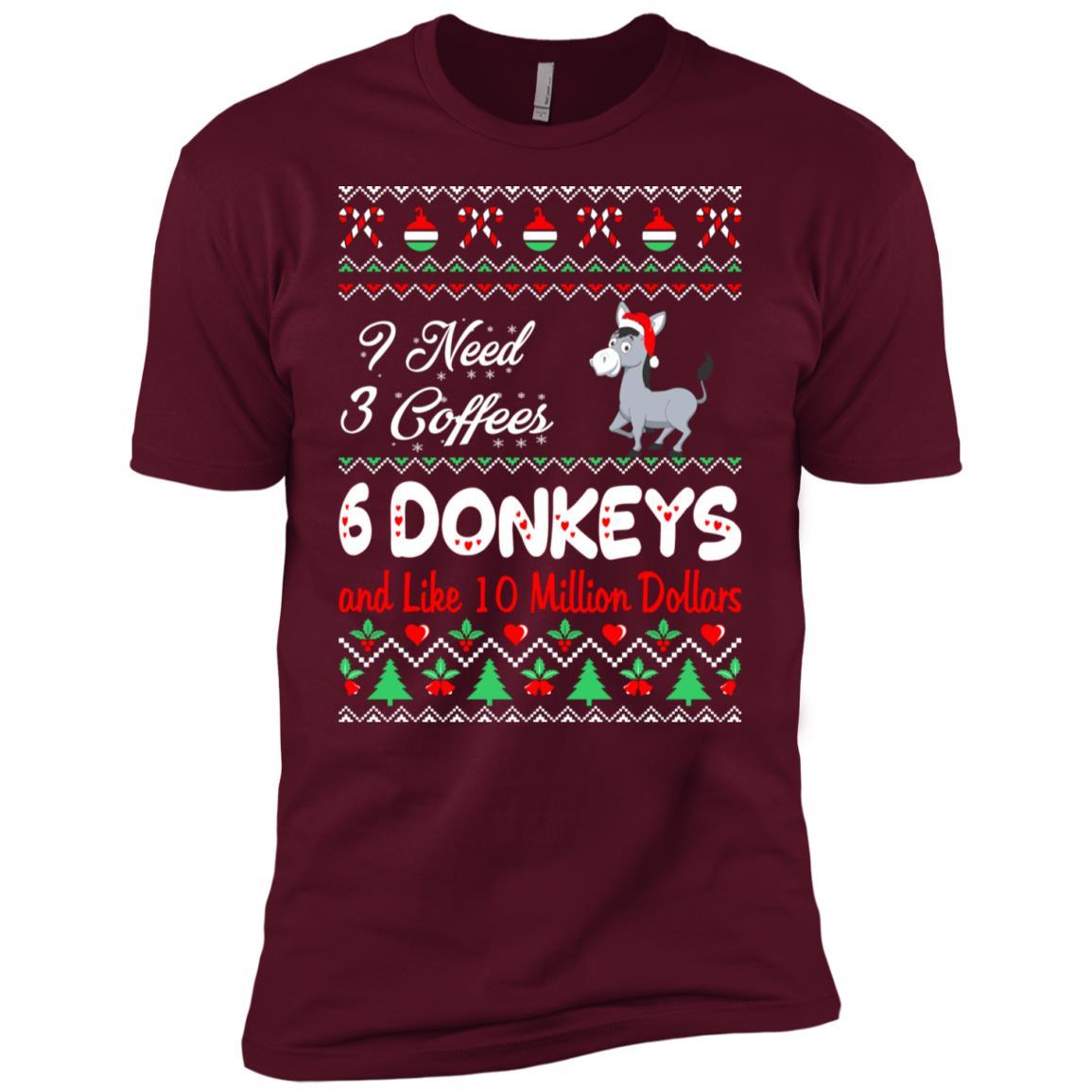 Need 3 Coffees 6 Donkeys Christmas Ugly Sweater Men Short Sleeve T-Shirt
