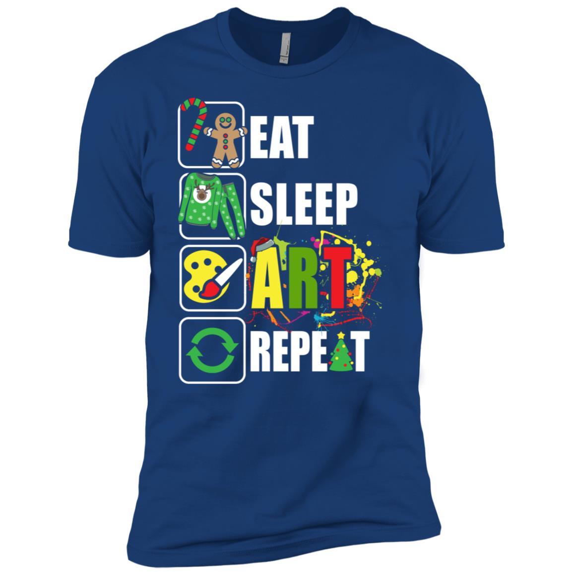 Eat Sleep Art Repeat Artist Xmas Gift Men Short Sleeve T-Shirt