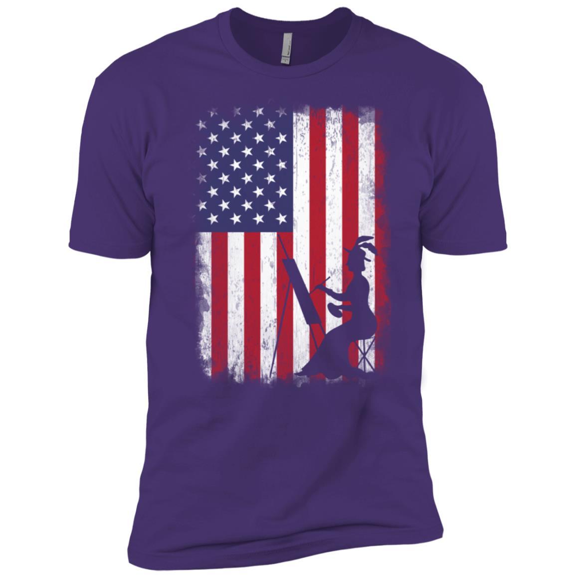 Drawing American Flag Usa Patriotic Men Short Sleeve T-Shirt