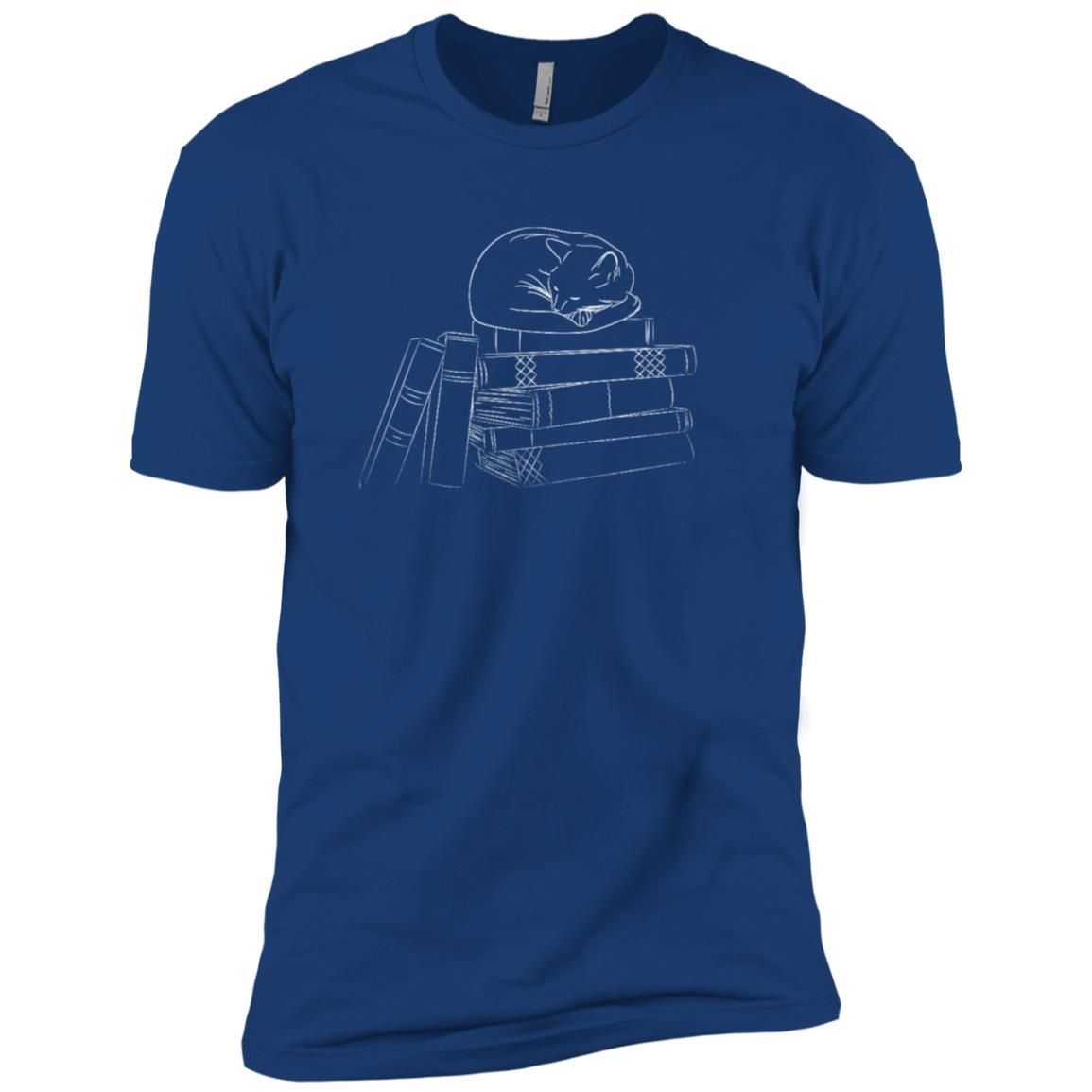 Cute cat sleeping on books d Men Short Sleeve T-Shirt