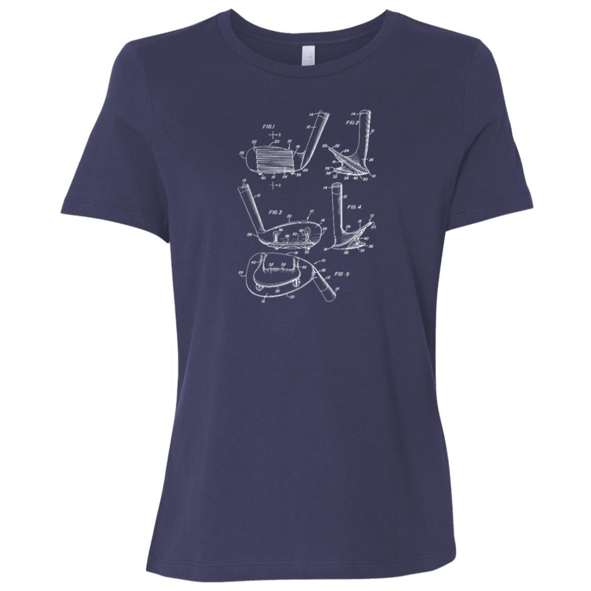 Golf Club Vintage Patent Drawing Funny Novelty Women Short Sleeve T-Shirt