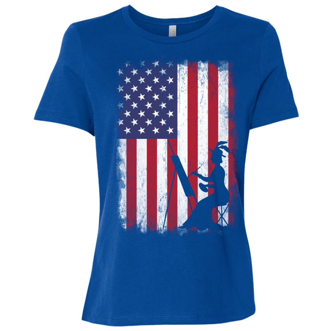 Drawing American Flag Usa Patriotic Women Short Sleeve T-Shirt