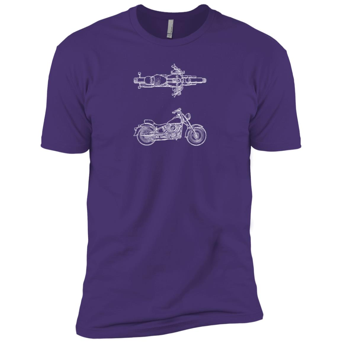 Motorcycle Vintage Patent Drawing Funny Novelty Men Short Sleeve T-Shirt