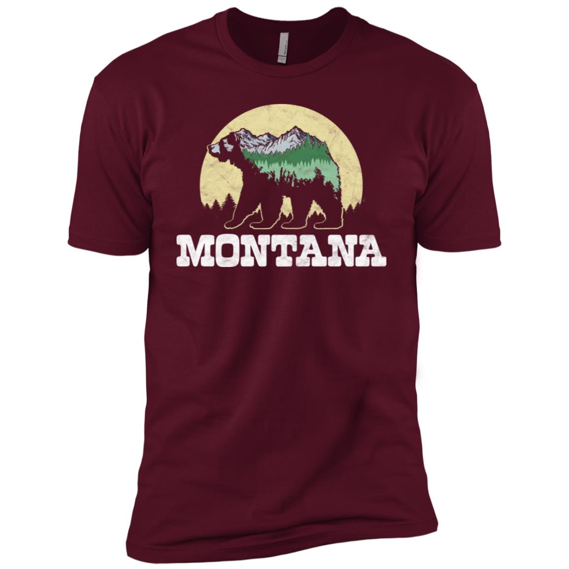 Montana Bear Sketch Mountains & Trees Men Short Sleeve T-Shirt