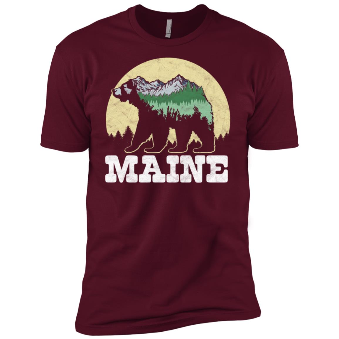Maine Bear Sketch Mountains & Trees Men Short Sleeve T-Shirt