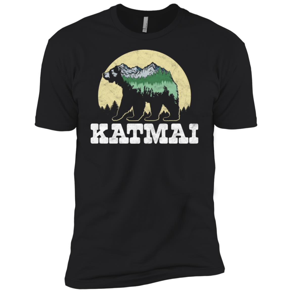 Katmai National Park Bear Sketch Mountains Tee Men Short Sleeve T-Shirt