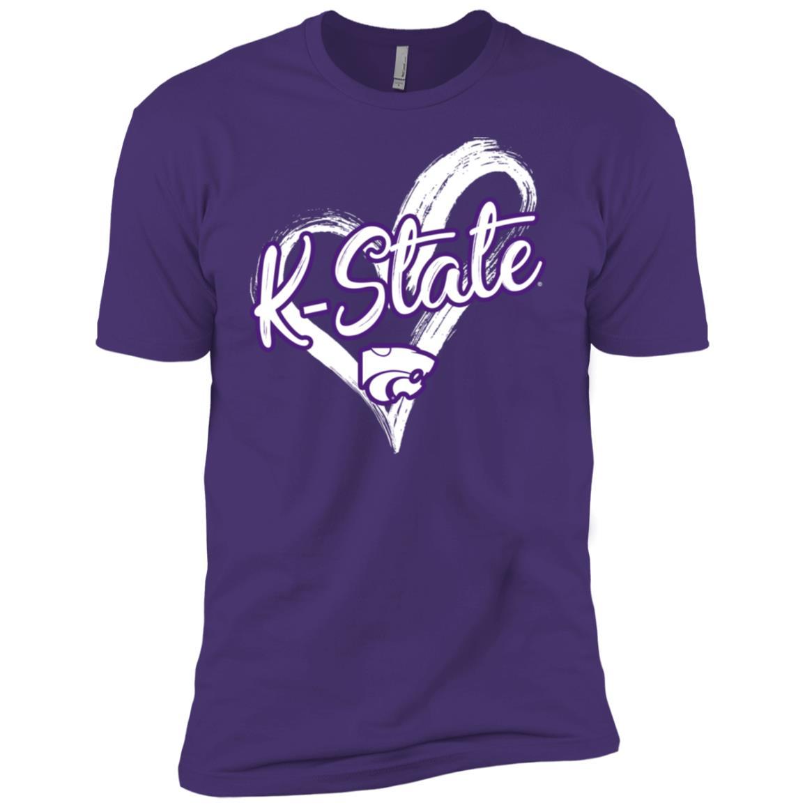 Kansas State Wildcats Drawing Heart Men Short Sleeve T-Shirt
