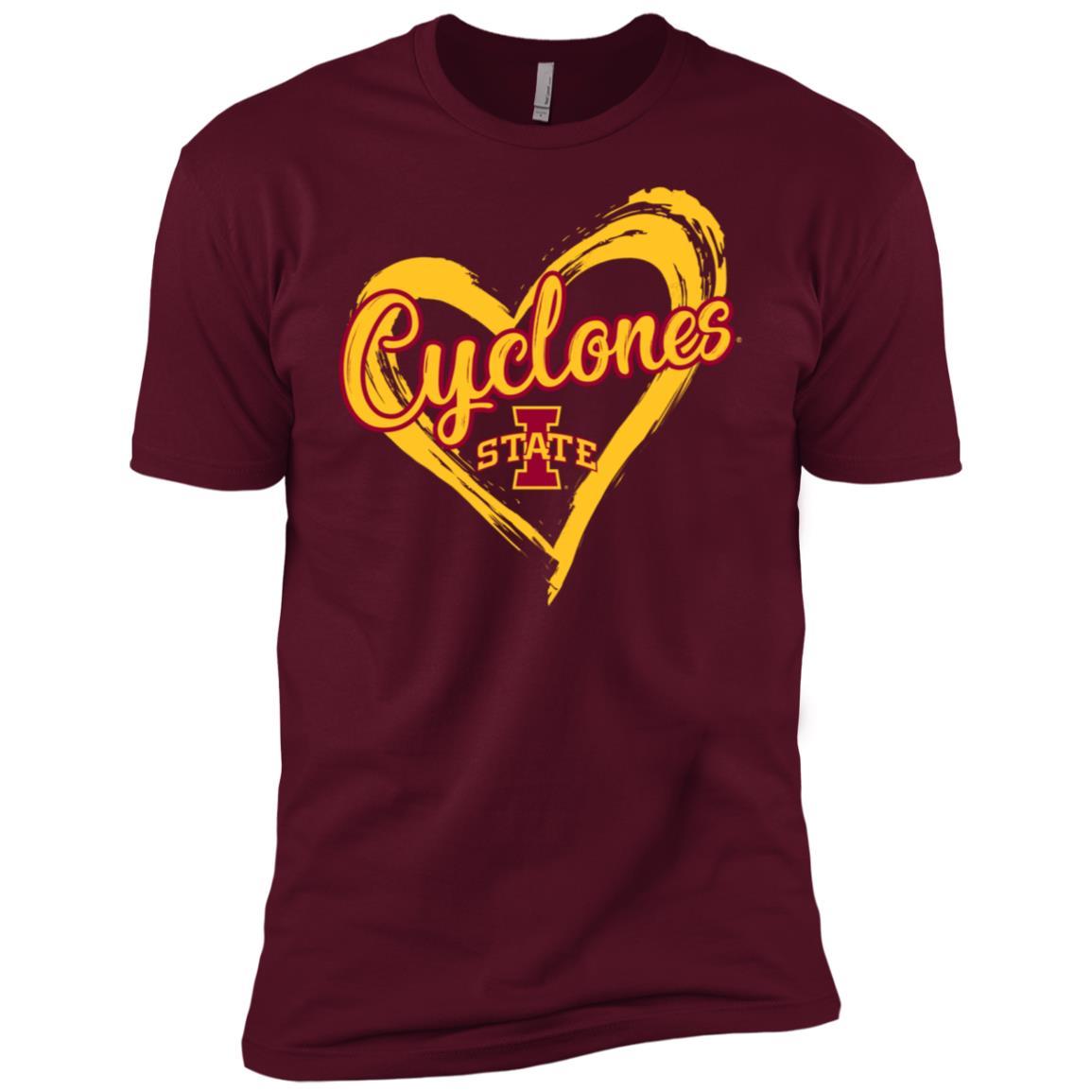 Iowa State Cyclones Drawing Heart Men Short Sleeve T-Shirt