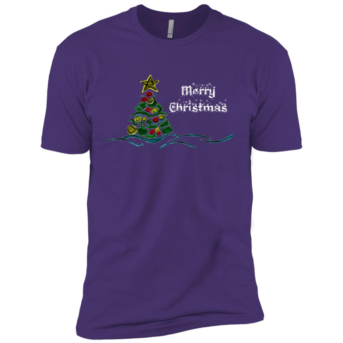 Christmas Tree Drawing – Merry Christmas-1 Men Short Sleeve T-Shirt