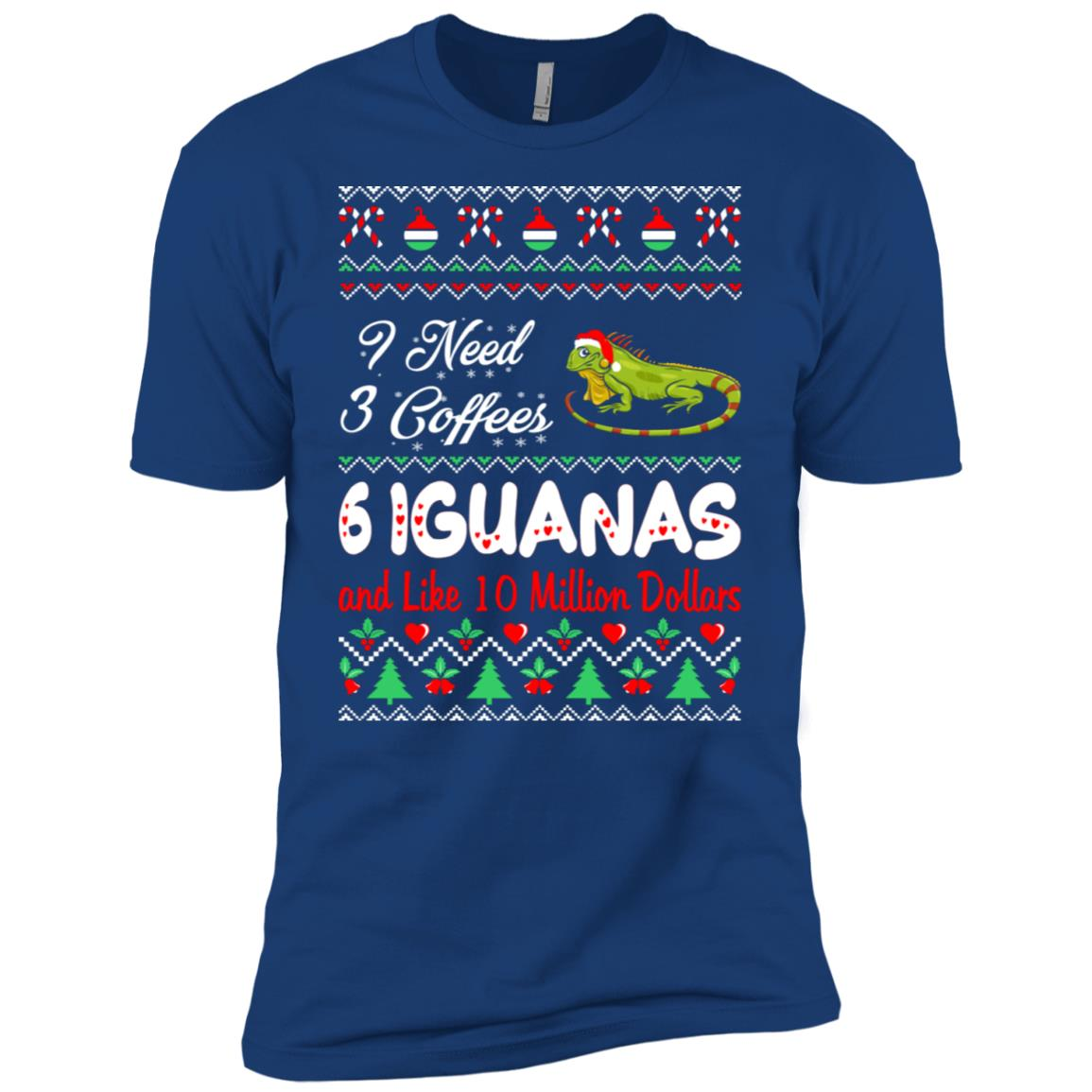 Need 3 Coffees 6 Iguanas Christmas Ugly Sweater Men Short Sleeve T-Shirt