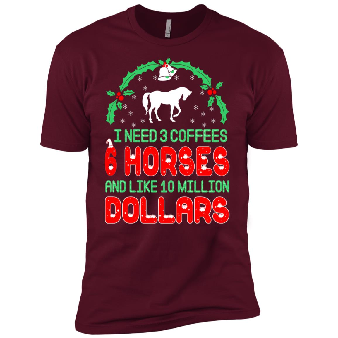 Need 3 Coffees 6 Horses Christmas Ugly Sweater-1 Men Short Sleeve T-Shirt