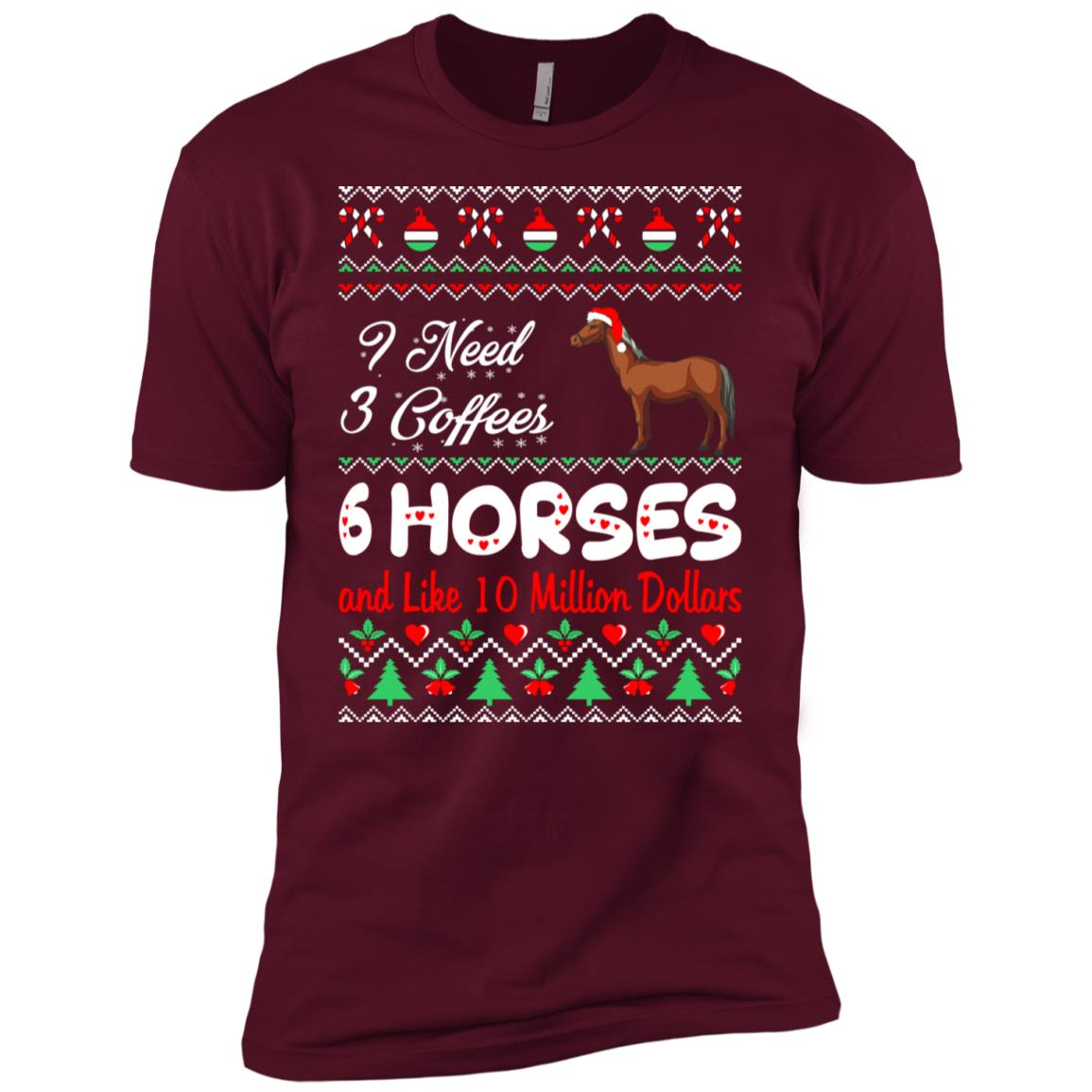 Need 3 Coffees 6 Horses Christmas Ugly Sweater Men Short Sleeve T-Shirt