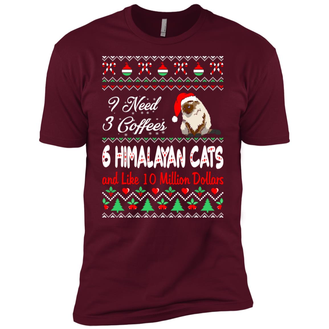 Need 3 Coffees 6 Himalayan Cats Christmas Ugly Sweater Men Short Sleeve T-Shirt