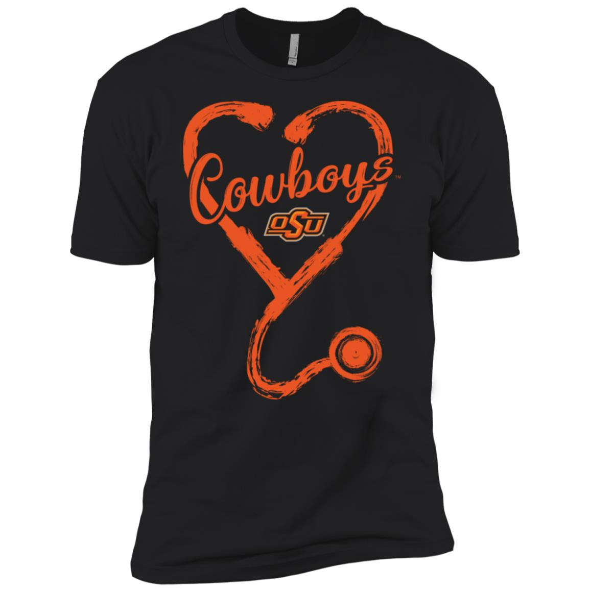 Oklahoma State Cowboys Drawing Stethoscope Men Short Sleeve T-Shirt