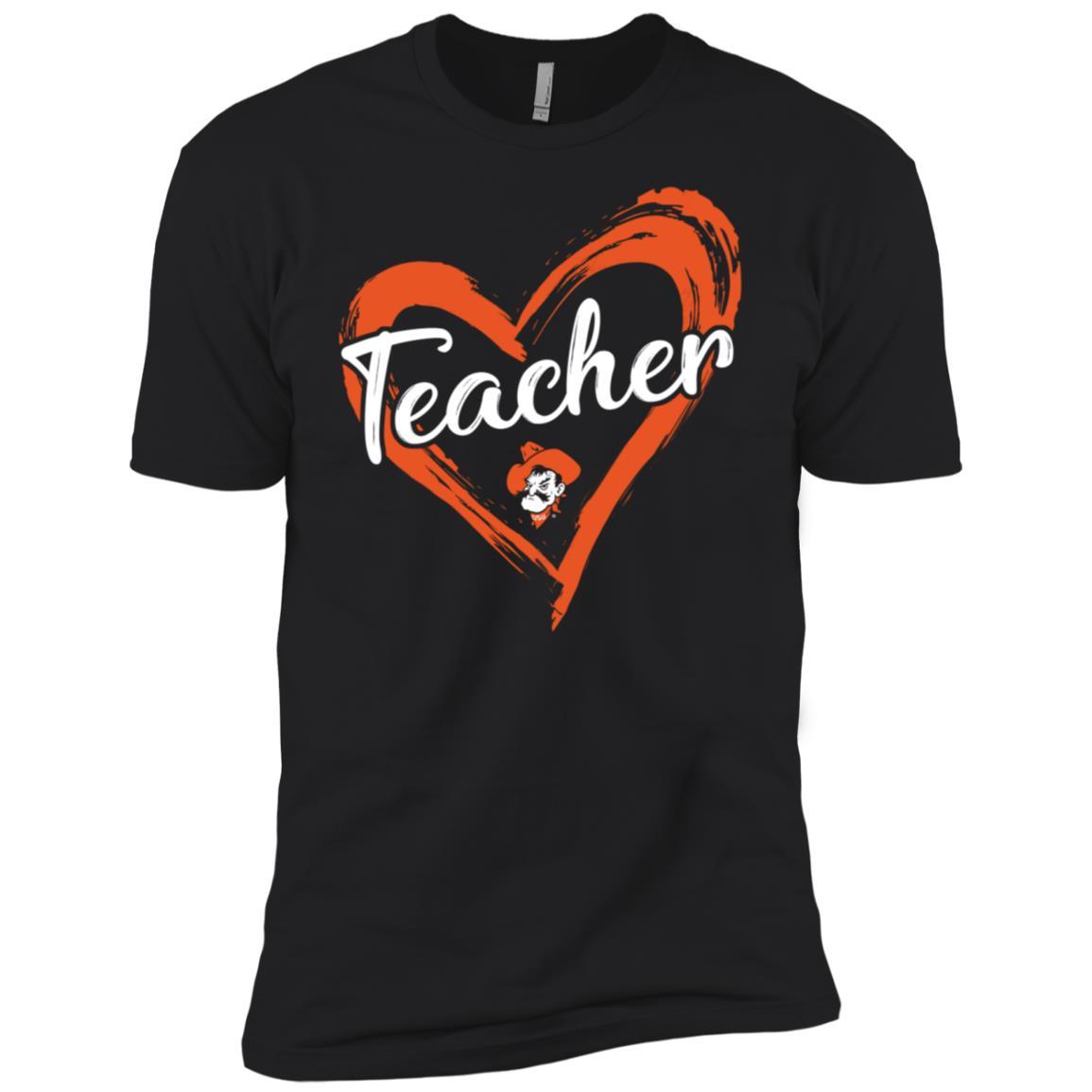 Oklahoma State Cowboys Drawing Heart Teacher Long Sl Men Short Sleeve T-Shirt