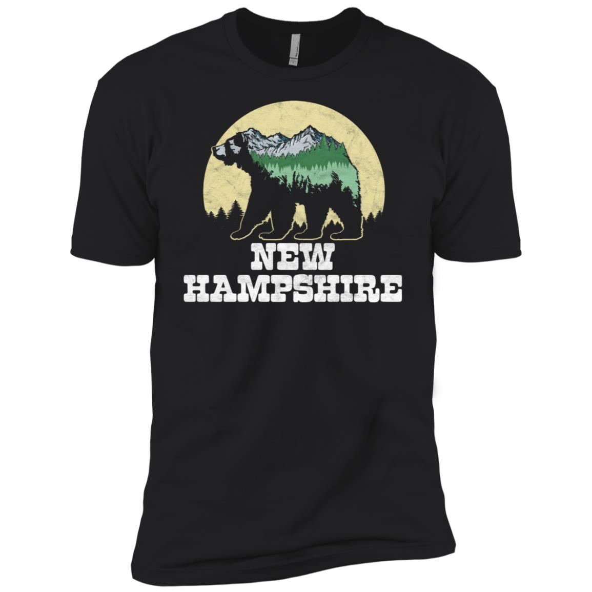 New Hampshire Bear Sketch Mountains & Trees Tee Men Short Sleeve T-Shirt