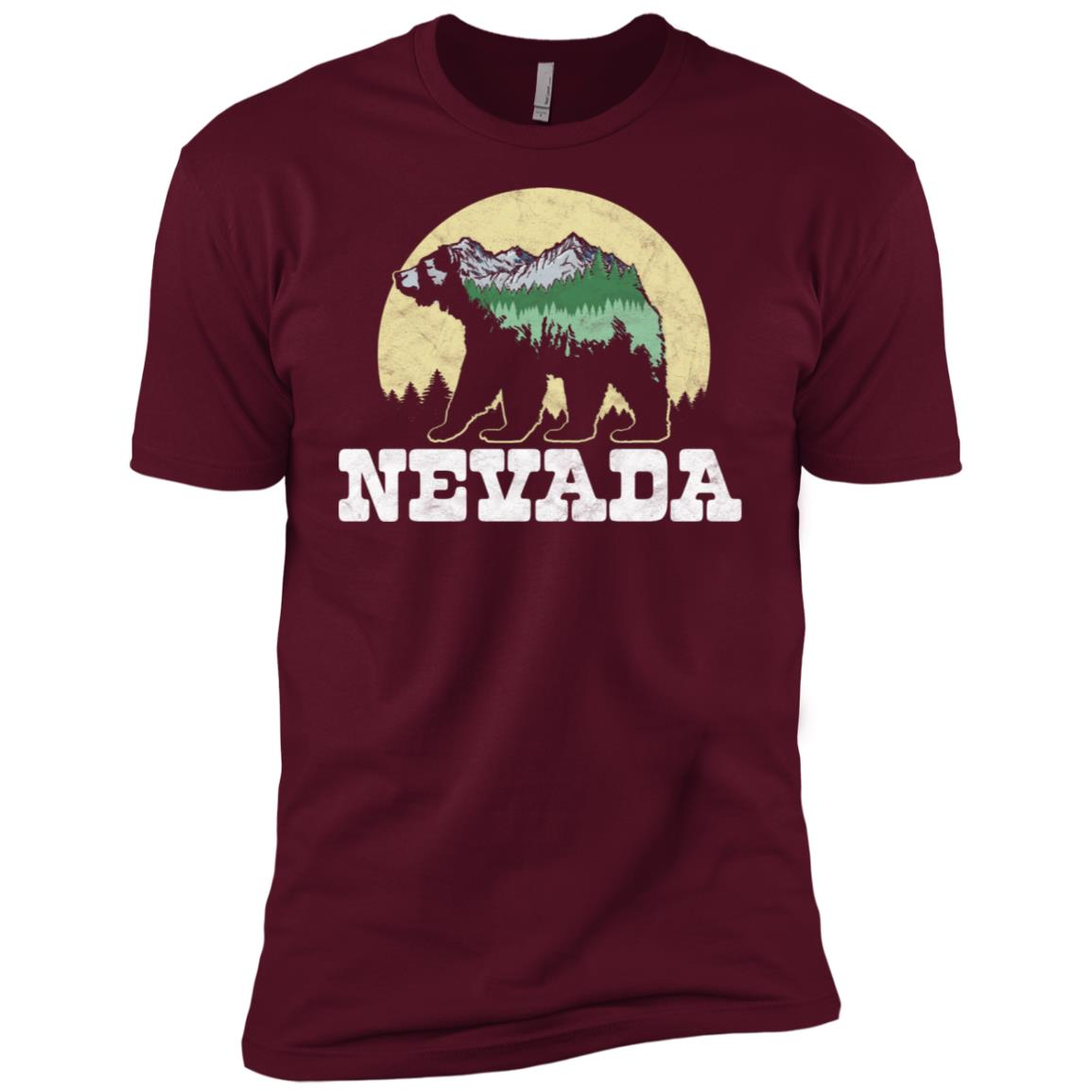Nevada Bear Sketch Mountains & Trees Men Short Sleeve T-Shirt