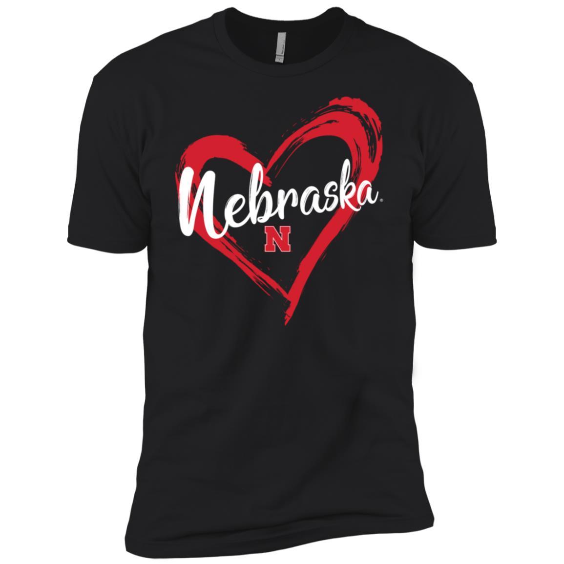 Nebraska Cornhuskers Drawing Heart Men Short Sleeve T-Shirt