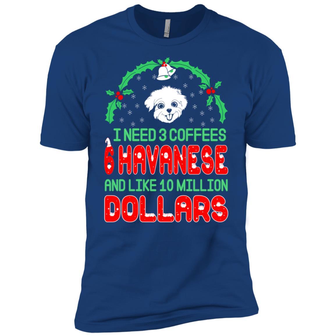 Need 3 Coffees 6 Havanese Christmas Ugly Sweater-1 Men Short Sleeve T-Shirt
