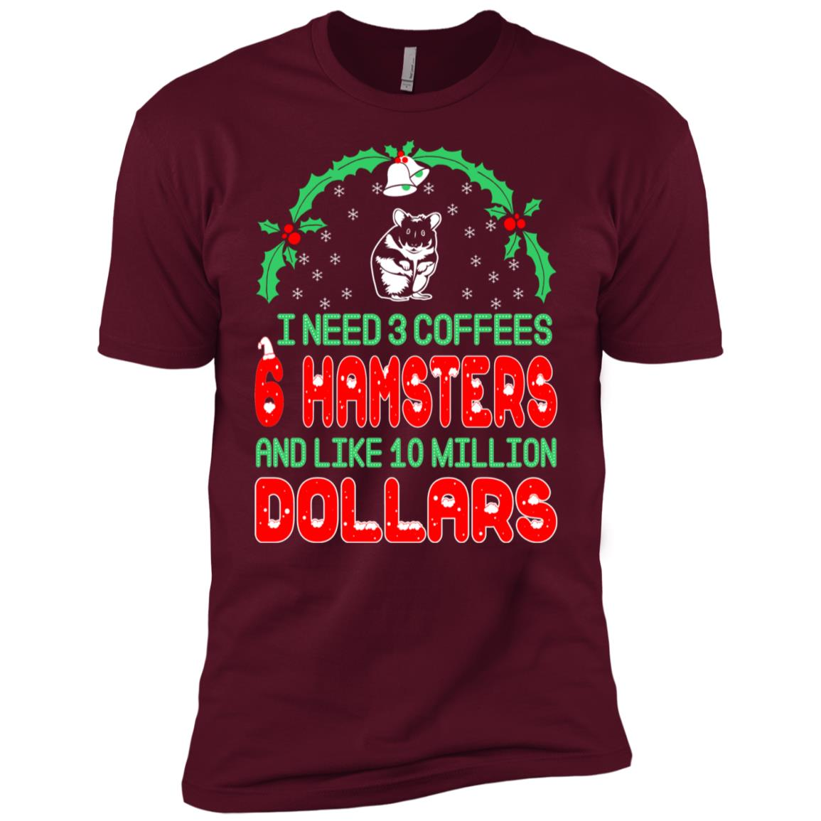 Need 3 Coffees 6 Hamsters Christmas Ugly Sweater-1 Men Short Sleeve T-Shirt