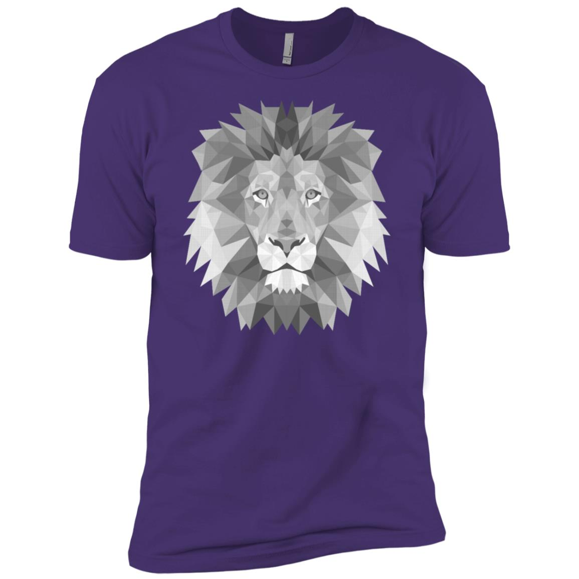 Polygonal Lion Head Geometrical Drawing Artsy King Jungle Men Short Sleeve T-Shirt