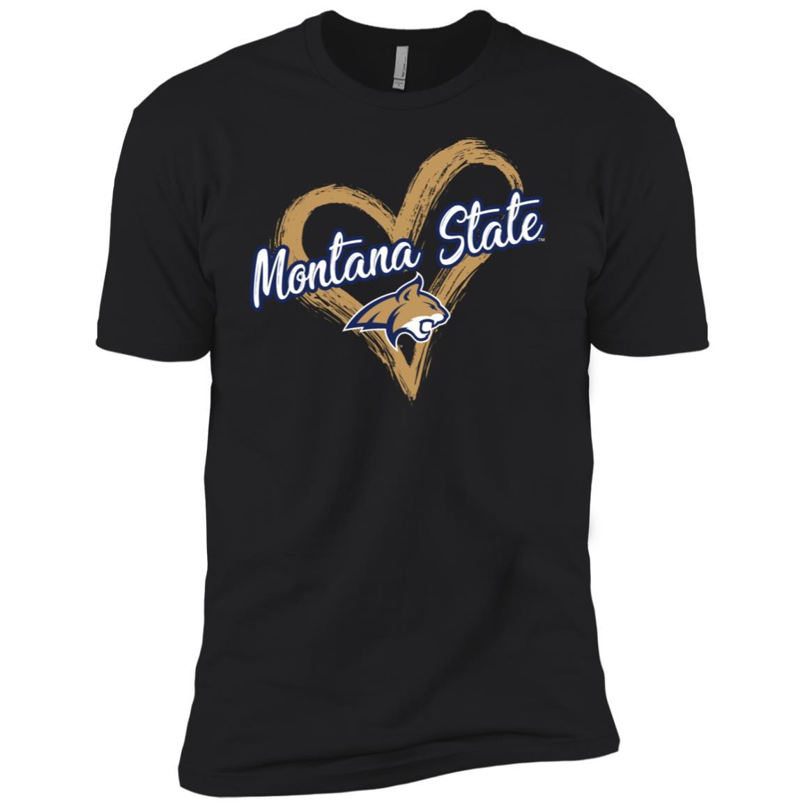 Montana State Bobcats Drawing Heart Men Short Sleeve T-Shirt