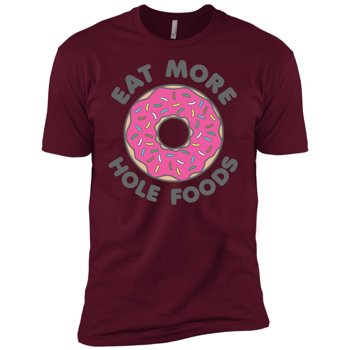 Eat More Hole Foods Donut Strawberry Sprinkles Men Short Sleeve T-Shirt