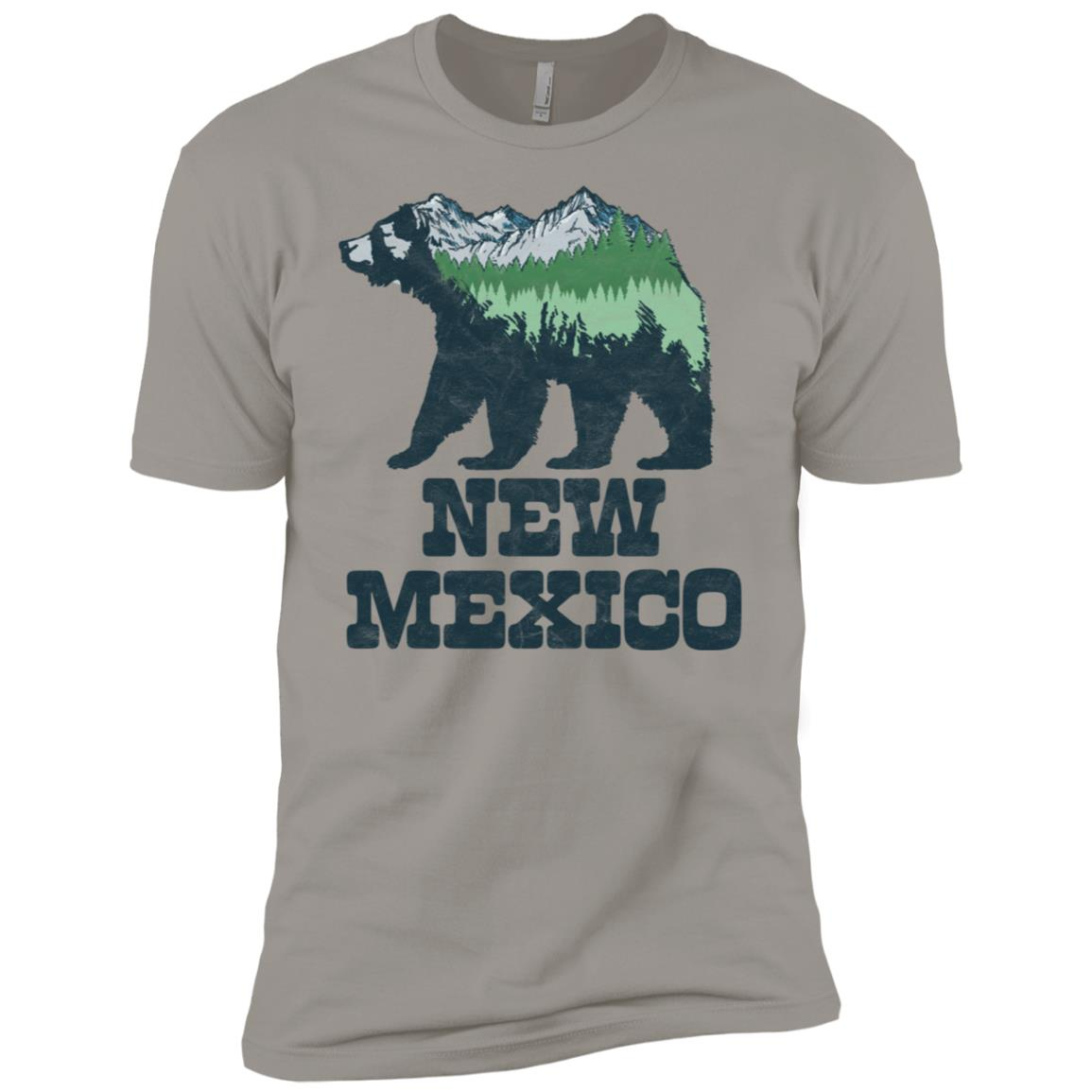 New Mexico Bear Sketch with Mountains & Trees Men Short Sleeve T-Shirt